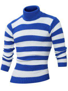 Turtle Neck Long Sleeves Striped Sweater - Blue M