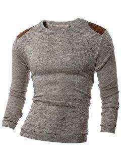 Shoulder Patch Design Round Neck Ribbed Sweater - Beige Xl
