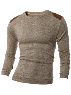 Shoulder Patch Design Round Neck Ribbed Sweater - Brown M
