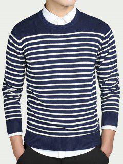 Striped Round Collar Long Sleeves Sweater - Blue Xl