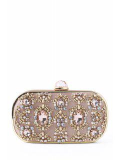 Faux Jewel Metal Trimmed Evening Bag - Champagne