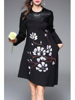 Printed Asymmetric Hem A Line Dress - Black S