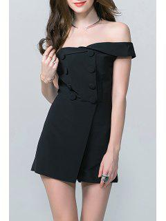 Double Breasted High Waist Romper - Black S
