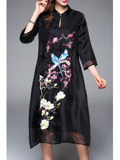 Embroidered Keyhole A Line Dress - Black M
