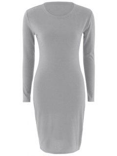Stretchy Long Sleeves Bodycon Dress - Gray S