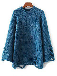 Ripped Chunky Knit Sweater - Lake Blue