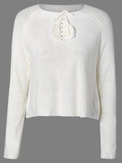 Lace-Up Bordée Sweater - Blanc M
