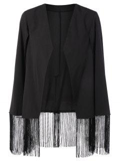 Fringe Asymmetric Cape Blazer - Black Xl