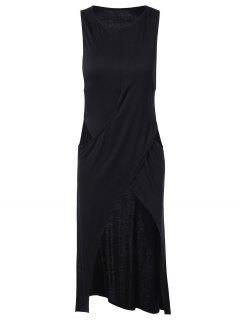 Slit Cut Out Bandage Midi Dress - Black L