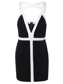 Plunging Neck Bodycon Strappy Dress - Black L