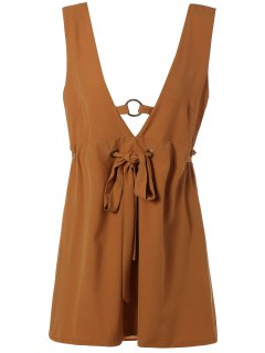 Self Tie Backless Plunging Neck Mini Dress - Light Brown S