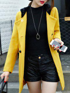 Faux Fur Trim Hooded Walker Coat - Ginger L