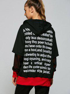 Hooded  Zip Up Letter Baseball Coat - Black