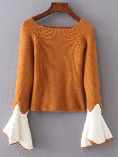 Bell Sleeve Contrasting Jumper - Yellow