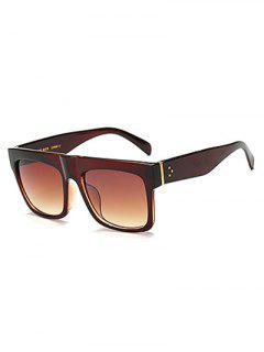 Anti UV Rectangle Sunglasses - Tea-colored
