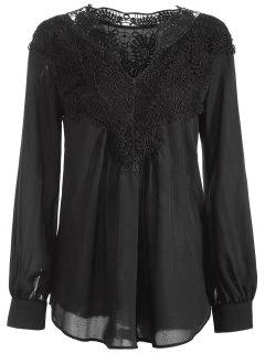 Crochet Floral Long Sleeve Blouse - Black M
