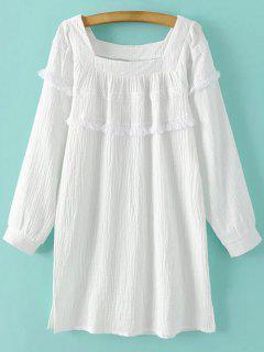 Longue à Manches Courtes Mini-robe Fringe - Blanc S
