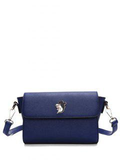 Magnetic Closure Textured Leather Metal Crossbody Bag - Deep Blue