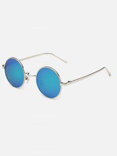 Streetwear Metal Round Mirror Sunglasses - Green Blue