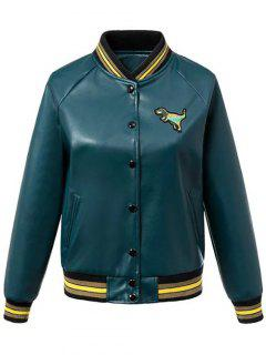PU Leather Baseball Jacket - Blackish Green S