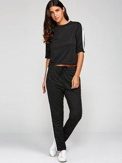 1/2 Sleeve T Shirt + Pants - Black L