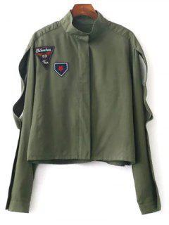 Patchwork Stand Neck Ausschnitt Jacke - Bundeswehrgrün S