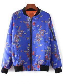 Printed Zippered Padded Jacket - Blue S