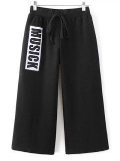 Recadrée Drawstring Pantalon Large - Noir S