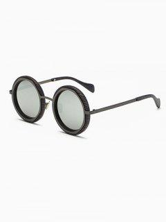 Wood Grain Round Mirror Sunglasses - Gun Metal