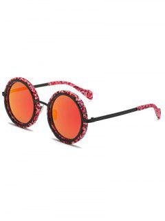 Marble Round Mirror Sunglasses - Red