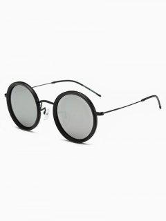 Slim Leg Round Mirror Sunglasses - Black