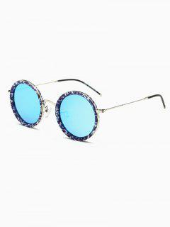 Slim Leg Marble Round Sunglasses - Ice Blue