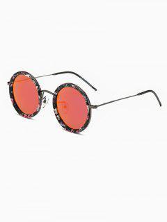 Slim Leg Floral Round Sunglasses - Red