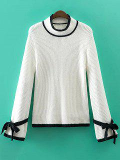 Bowknot Sleeve Funnel Pull à Col - Blanc S