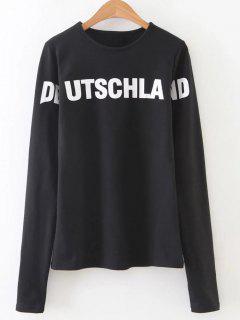 Contrast Letter Print Sweatshirt - Black S