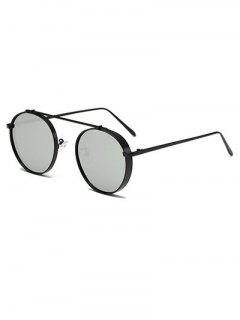 Chunky Frame Metal Oval Mirror Sunglasses - Black