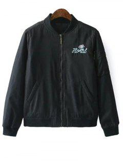 Embroidered Quilted Zip Jacket - Black S