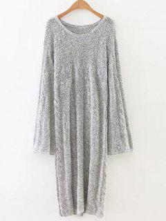 Cable Knit Side Slit Long Sweater - Gray M