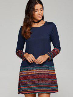 Tribal Impreso Trim Camiseta Vestido - Azul Purpúreo M