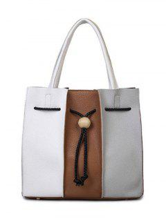 String Textured Leather Colour Block Tote Bag - White And Brown