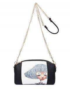 Cat Printed Double Zipper Chain Crossbody Bag - Black