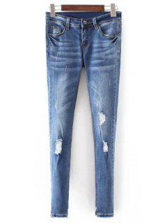 Bleach Wash Skinny Ripped Jeans - Blue S