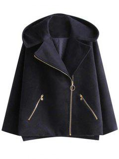Hooded A Line Wool Blend Coat - Cadetblue S