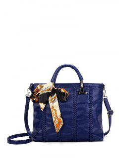 Weaving Metal PU Leather Tote Bag - Deep Blue