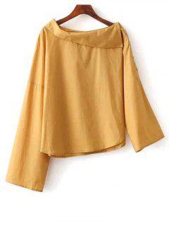 Plegable Asimétrico Escote De La Blusa - Amarillo M