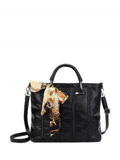 Weaving Metal PU Leather Tote Bag - Black