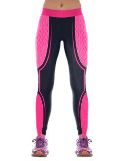 Pantalons Color Block Skinny Gym - Rose M