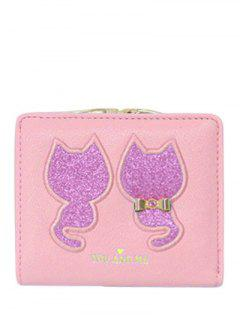 Imprimé Animal Paillettes Bow Wallet - Rose PÂle