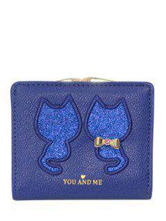 Animal Pattern Sequins Bow Wallet - Blue