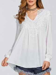 Ganchillo Floral Flowy Top - Blanco S